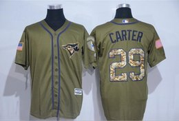 Wholesale 29 Joe Carter Army Green Salute To Service Cool Base Baseball Jersey Toronto Blue Jays Jersey Mens Embroidery Logo Best