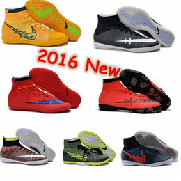 Wholesale New Arrivals mercurial superfly ic mens soccer shoes cleats cheap superflys indoor football boots futsal shoes cleats yellow red grass green