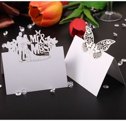 Wholesale Wedding Table Decoration Pieces Paper Place Name Cards Mr Mrs Romatic Crafts Favors Birthday Party Event Supplies Baby Shower