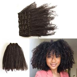 Descuento extensión del pelo humano clip de la cabeza llena Clip afroamericano en la extensión del cabello humano Cabello principal de la cabeza de Malasia afro Kinky Clip rizado G-EASY