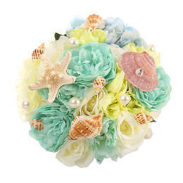 Wholesale High Quality Blue Shells Beach Vintage Wedding Decoration Artificial Bridesmaid Flower Silk Rose WF050MB OC Top Bridal Wedding Bouquet