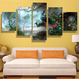Wholesale 5p modern home HD picture oil painting canvas print art wall living room children room study decoration theme Peacock no frame