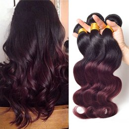 """Ombre Two Tone 1B Burgundy Hair Weave 3Pcs Lot 10""""-30"""" Malaysian Tow Tone 1B 99J Hair Extensions Cheap Ombre Human Hair Weave"""