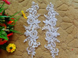 2016 NewFree shipping 2pair bag white lace applique 29*8cm for Wedding dress DIY materials