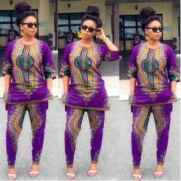 2017 Women African Dashiki Print Stretch Pant Blouse Half Sleeve Tops+Pants Suit 2 Piece Set Elegant Breathable Comfortable Ethnic Clothing