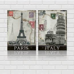 Free shipping 2 Pieces unframed decoration picture Canvas Prints Paris Italy Eiffel Tower Pisa stamp Lavender fruit juice Abstract flowers