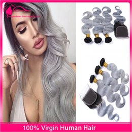 Brazilian Virgin Hair #1B Grey Two Tone Hair Weaves With Closure Ombre Hair With Closure 4 Pcs lot Free Part Ombre Hair Extensions