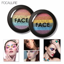 Wholesale 2016 Focallure Rainbow Highlighter Eyeshadow Palette Baked Blush Face Shimmer Color