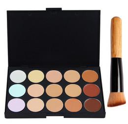 15 Colors Concealer Face Cream Concealer Nautral Care Nake Makeup Palette Set with Makeup Brush 1pcs Concealer + 1pcs Brush