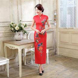 Shanghai Story Keyhole long cheongsam Faux Silk cheongsam qipao dress chinese traditional clothing China oriental dresses Woman Dress