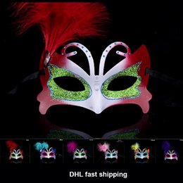 Wholesale Women Sexy Mask Halloween Venetian Eye Mask Masquerade Masks With Colorful feather Happy Easter Mask Dance Party Holiday Mask P C