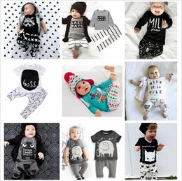 Wholesale Kids Ins Suits T Shirts Pants Baby Ins Tops Trousers Summer Ins Outfits Fashion Shirts Harem Pants Ins Baby Clothing Romper Color A880