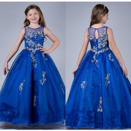 Wholesale Kids Dresses Cheap Prices - 2016 Royal Blue Girls Pageant Dresses Floor Length Crew Collar Sheer Cheap Price Beaded Sequined Top Organza Sweet Kids Dress For Event