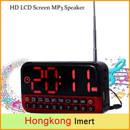 Wholesale HD LCD Screen Personalized Portable Multi functional LED Alarm Clock Radio Card MP3 Speaker Support Power and Memory