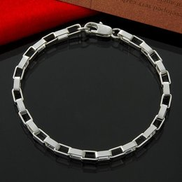 Factory direct wholesale 925 Sterling Silver 4M Plaid Bracelet Silver Jewelry