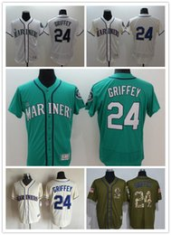 Wholesale 2016 New Hot sale Seattle Mariners Authentic Jerseys Ken Griffey jr Jerseys Green White Cream Flexbase Embroidery Baseball jerseys