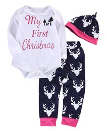 Wholesale 2016 Newborn Baby Kids Deer Long Sleeve T shirt Tops Pants Legging Outfits Sets