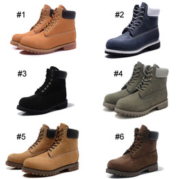 Wholesale Classic Men Women Footwear Inch Premium Waterproof Boots Martin Ankle Boots Mid cut shoes Nubuck Full grain leather