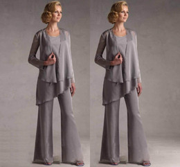 Wholesale 2016 Chiffon Mother of the Bride Pants Suits With Jacket Long Sleeve Square Neckline Wedding Mother s Groom Formal Wear Silver HY972