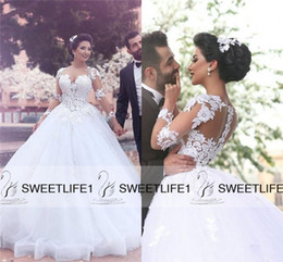 White Ball Gown Tulle Long Lace Sleeves 2019 Arabic Vintage Wedding Dresses with Sweetheart Neckline Appliques Sweep Train Bridal Gowns
