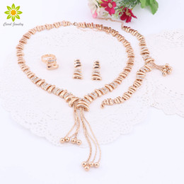 Wholesale Jewelry Sets For Women Crystal Tassel Necklace Sets Fine African Beads Earrings Gold Plated Wedding Dress Accessories