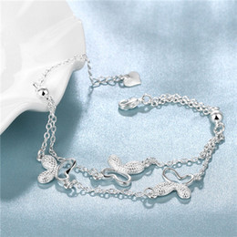Hot sale christmas gift 925 silver Butterfly Bracelet DFMCH409, Brand new fashion sterling silver plated Chain link bracelets high grade