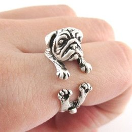 NEW Top Fashion handmade Pug dog vintage ring jewelry in rings black   silver   bronze in jewelry