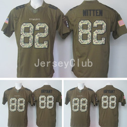 Wholesale NWT Hot Cowboys Jason Witten Dez Bryant Salute To Service Stitched Army Green Embroidery Logos Men s America Football Jerseys Uniforms