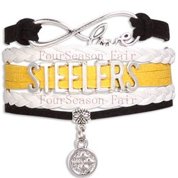 Wholesale Custom Infinity Love Steelers Football Team Bracelet Pittsburgh Sport Team Wrap Braided Leather Adjustable Bracelet Bangles Drop Shipping