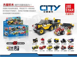 Wholesale Variable City transports Bus Police Station Truck Motorcycle Car in Building Blocks Toys