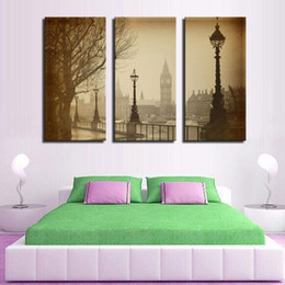 3 Picture Combination Building'S Wall Quiet Street Posts Wall Art Painting Pictures Print On Canvas City For Home Modern Decor