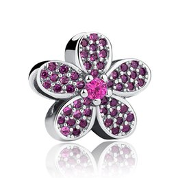 Authentic 925 Sterling Silver Flower Charms with Purple Crystals for DIY Beaded Charm Bracelets & Necklaces Jewelry Accessories S357