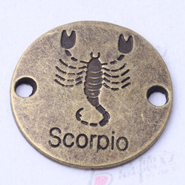 SCORPIO hand flake round charms antique silver bronze DIY jewelry fit Necklace or Bracelets 100pcs lot 3112z