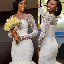 Luxury Beaded South African Long Sleeves Mermaid Wedding Dresses 2017 Sheer Jewel Neck Arabic Vestidos De Novia Bridal Gowns Custom Made