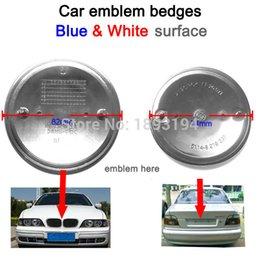 Wholesale Exterior Accessories Emblems NEW CAR STYLING BLUE amp WHITE MM MM CAR LOGO HOOD EMBLEM TRUNK BADGE For E46 E30 E39 E34