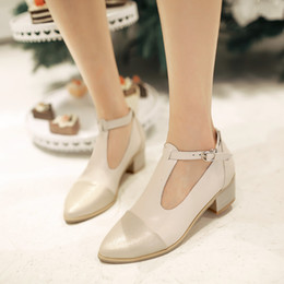 Wholesale Fashion Spring Summer Women s Shoes Mary Janes Shoes Pointed Toe Flats Thick Heel Oxfords T Strap Patchwork Summer Sandals PU