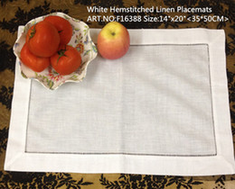 """Free shipping Home Textiles 12pcs lot 14x20""""White Linen Table cloth With Hemstitched edges. Perfect Placemats"""