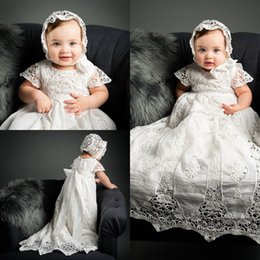 Wholesale Empire First Communion Dress Short Sleeves A line Christening Dresses For Baby Girl Bow Sash Lace Soft Baptism