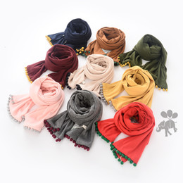 Wholesale New Baby Girls Cotton Tassel Scarves Kids Girl Princess Soft Wraps Babies Autumn Winter Christmas Accessories each color