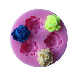 Wholesale 3D Rose Flowers Fondant Cake Cookie Chocolate Soap Mold Cutter Modelling Tools