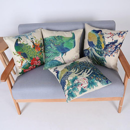 45cm Hot Sale Fresh Peacock Animal Cotton Linen Fabric Throw Pillow 18inch Fashion Hotal Office Bedroom Decorate Sofa Chair Cushion