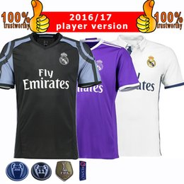 Wholesale 2017 Champions League Player Version Soccer Jersey Real Madrid Home Away rd Soccer Jerseys Ronaldo Bale Football Jeresys