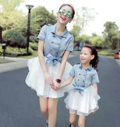 Wholesale Casual England Jeans Mesh Buton Tutu Dress High Waist Princess Denim Dress for Mother and Daughter Family Matching Outfits