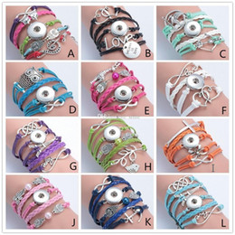 Wholesale Infinity Leather Bracelet Antique Cross Anchor Love Peach Heart Owl Bird Believe Pearl Knitting Noosa Ginger Snap Button Charm Bracelets