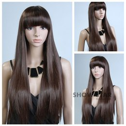 100% Brand New High Quality Fashion Picture full lace wigs>>Womens Natural Dark Brown Wig Healthy Hair Long Straight Synthetic Wig Full Wigs