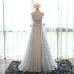 Half Sleeve A-Line Gray In Stock Special Occasion Dresses for Girls Open Back Sexy Evening Party Dress Soft Tulle Long Prom Dress 2019