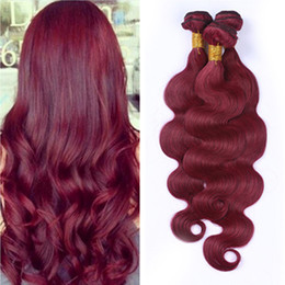 #99J Brazilian Body Wave Hair Weaves Weft Burgundy Hair Extensions 3Pcs Lot Wine Red Pure Color 3 Bundles Human Hair