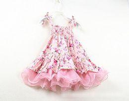 Hot Summer Baby Girls Vintage Flowers Tutu Party Dress Kids Floral Dresses Tulle Skirt Lace Strap Dress Children Princess Cotton Dress 1714