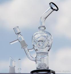 """Nid d'abeille recycleur en Ligne-La plus récente circulaire Honeycomb perk 9 """"verre recycler verre bongs tuyau d'eau plate-forme pétrolière avec dôme clou et bol 14.4mm joint"""