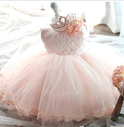 Wholesale 2017 New Cute Flower Girls Dress Summer Fashion Pink Lace Big Bow Party Tulle Flower Princess Wedding Dresses Baby Girl Tutu dresses MC0282